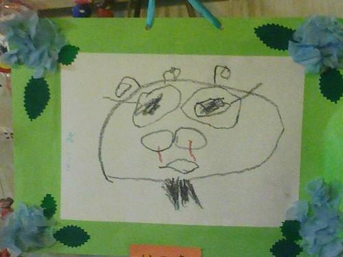 父の日に、幼稚園で書いた似顔絵をもらった…けど何 故鼻血><