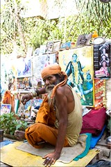 Sadhu or Salesman? (Ursula in Aus) Tags: portrait india man male religious icons indian varanasi symbols hindu asi ghats ghat varanasiindia earthasia
