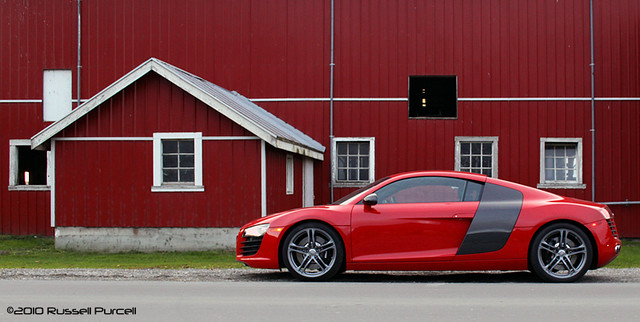 auto red car sport speed germany automobile fast german audi coupe v8 audir8 ©2010russellpurcell