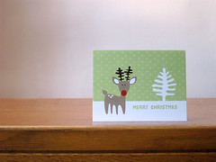 reindeer merry christmas card (you can count on me) Tags: christmas xmas winter shop illustration reindeer holidays deer snowing rudolph cheer etsy thebeautifulprojectetsycom