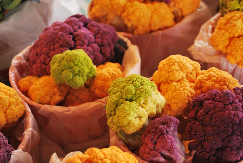 cauliflower: purple, orange, green