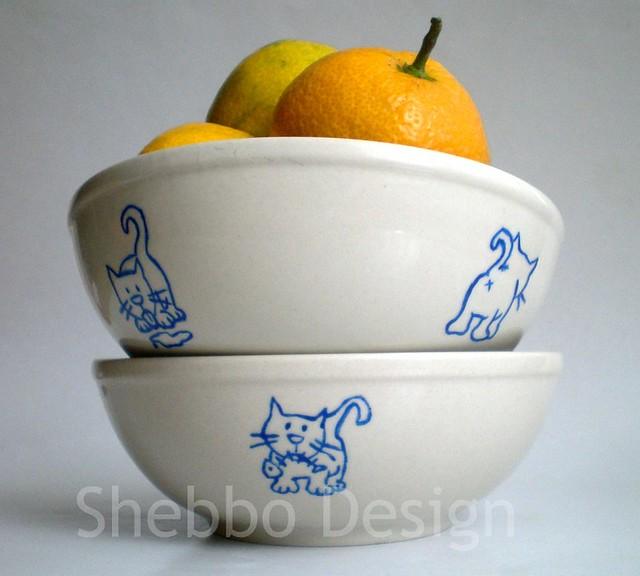 Cobalt Blue Kitty Cat Bowls