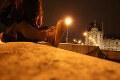 (Emily M Gonzales) Tags: street bridge paris france seine night river photography louvre le lamps lourve