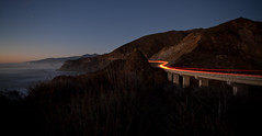 Pacific Coast Highway/HWY. 1 After Sunset (flygrl67) Tags: california ca longexposure bridge mountains cars night lights coast traffic bigsur hills highway1 coastline