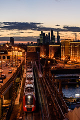 Moscow central ring railroad (ru13r) Tags: moscow russia summer city citylife cityscape dusk evening lights louds moscowcity москва москвасити россия вечер мцк поезд сити
