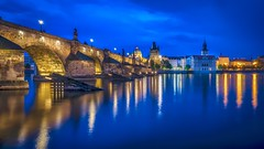 Charles Bridge - blue hour (Klaus Mokosch) Tags: praha prag tschechien europa europe bridge blue hour reflection water longexposure river city cityscape urban klausmokosch hdr moldau prague