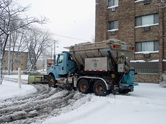 City Of Chicago Department Of Streets And Sanitation snow plow truck. Chicago Illinois. Friday, December 1st 2006.