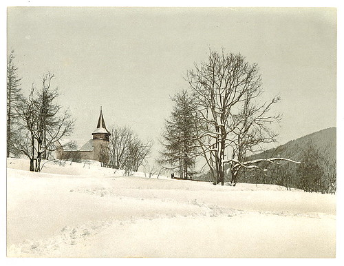 Winter scene with church in background, unidentified location