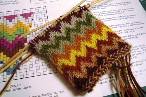 beginning of Chevron Love mittens