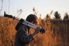 je t'aime, voisin. (j417.L) Tags: autumn boy portrait fall field yard weeds friend michigan tripod warmth