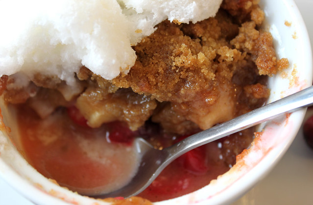 Cranberry and Apple Crisp with Snow Ice Cream