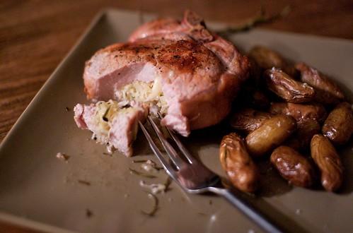 Pork chop with sauerkraut & aged gruyere cheese
