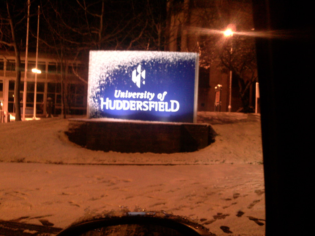 Huddersfield University in the snow