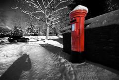 Post Box (Oliver Wood Photography) Tags: winter snow ice mono cheshire furniture postbox royalmail roadside pillarbox selectivecolour scottroad prestbury flickraward prestbury2