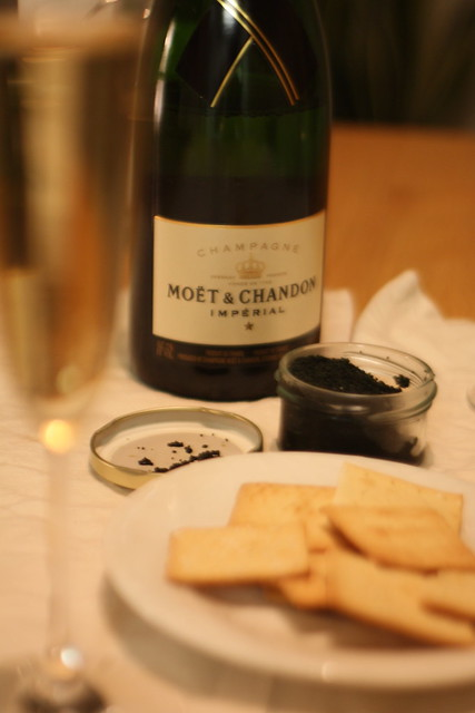 Champagne, Caviar (fake), and Crackers