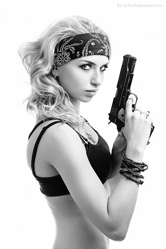 sexy chick with gun