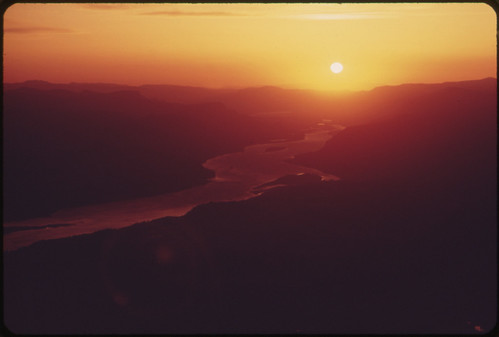 Columbia River Gorge at Sunrise, From an Elevation of About 7,000 Feet 05/1973