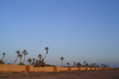 Marrakech ramparts and Atlas Mountains, travel to Marrakech