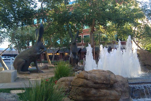 Giant Rabbits and a Fountain in Front of MadCap Theatres