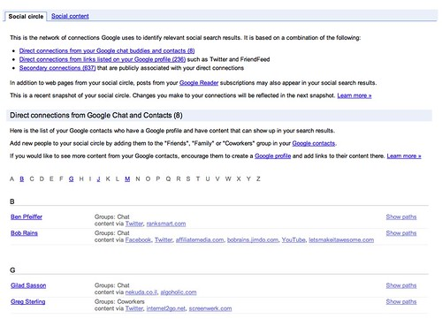 Google Social Search Circle