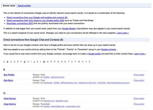Google Social Search Circle