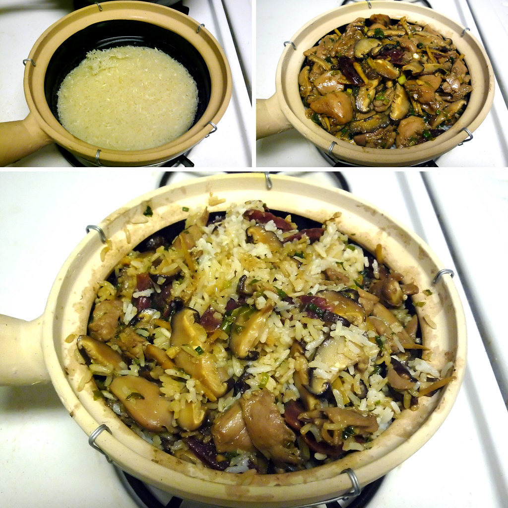 left – rice in the clay pot. Top right – partially cooked chicken ...