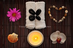 Home Made Spa (Violet Kashi) Tags: orchid 50mm nikon bath warm candle heart pebbles zen serenity seashell meditation nikkor spa wellness d90