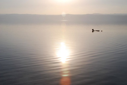 jeremy floating in the dead sea