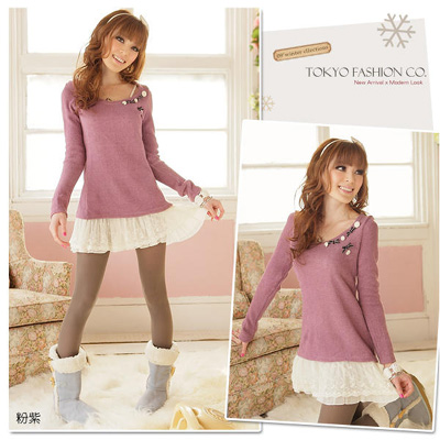 Princess ribbons sweater plum