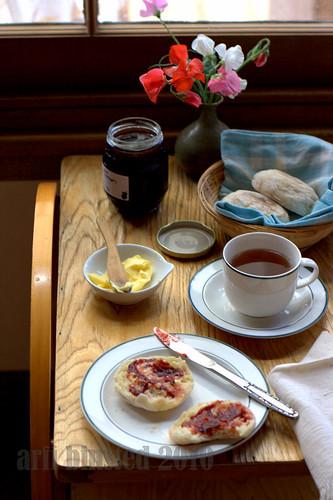 enjoying english muffins with earl grey green tea