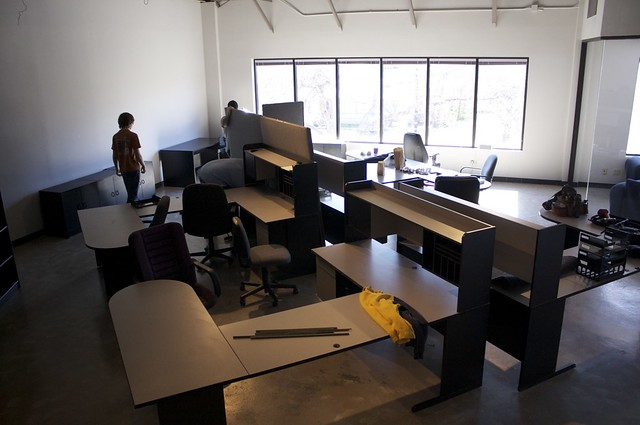 Desks freed from the cubicle walls