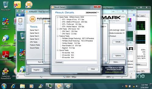 Acer Aspire One 532g 3DMark03 Benchmark
