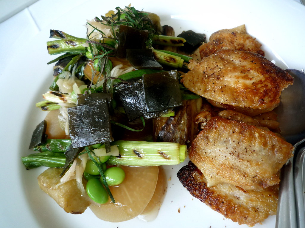 Confit chicken wings, dashi-braised eggplant, daikon, spring onion, konbu no tsukudani