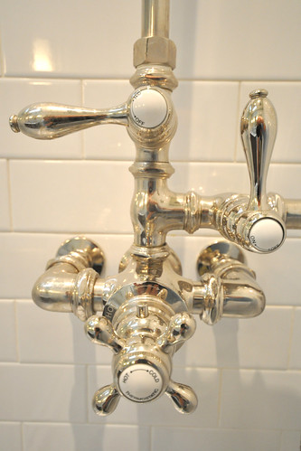 Thermostatic Shower hardware that has an updated antique look in Master Bathroom Renovation