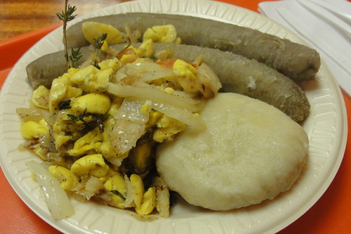 ackee, bananas and dumpling