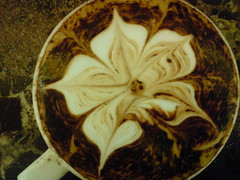 chocolate flower coffee (pics of genesis) Tags: white art coffee flat drink latte barista merlo