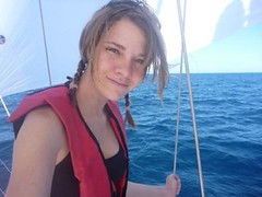 On the bow in front of the Code 0 (Jessica_Watson) Tags: world old out person sailing jessica year solo watson be sail around 16 non setting youngest unassisted jessicawatson nonunassisted