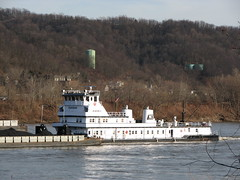 Towboat 2010 Mary Ellen Jones (WillynWV) Tags: winter ohio river spring day cloudy bridges clear wv coal bellaire ohioriver barges towboats belmontcounty maryellenjones