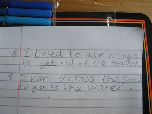 H tried to use magic to get rid of the teacher..