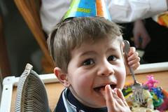 Yum! (Ben and Laura) Tags: birthday party cute minnesota cake canon eos rebel xt three toddler nick minneapolis jr mpls target xander mn backyardigans