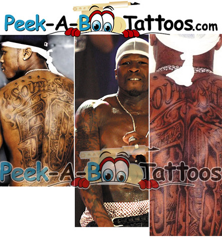 50 cent tattoos by Peek-A-Boo Tattoos. Back and arm tattoos on rapper 50