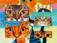 regards Felins (les réalisations de patine07) Tags: eye art colors animal collage cat chats couleurs mosaic yeux glance sticking felin lesréalisationsdepatine07
