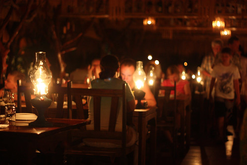 Dinner by gas lantern at the Jungle River Rafts