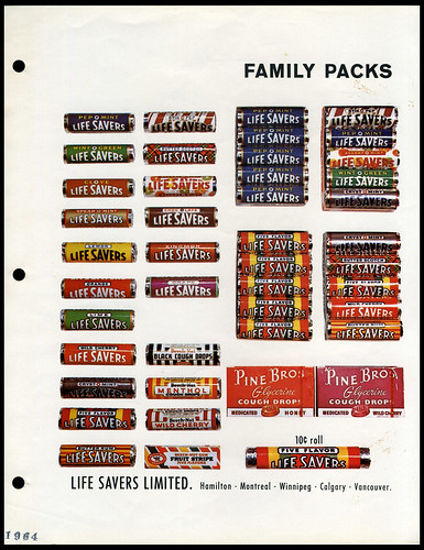 Canada - Life Savers LifeSavers candy - Pine Bros cough drops - catalog salesman sell sheet - 1964