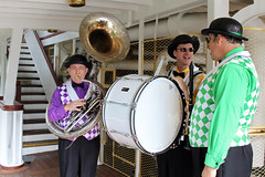 The band play aboard Tiana's Showboat Jubilee