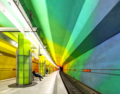Enter the Station (yushimoto_02 [christian]) Tags: art station architecture canon germany underground subway munich mnchen geotagged deutschland rainbow arquitectura europe metro transport tube tunnel ubahn architektur munchen bahn hdr muenchen regenbogen architectura candidplatz colorphotoaward