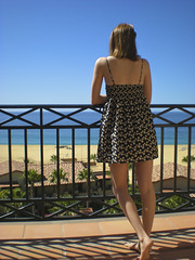 Picturesque (Michaella LR) Tags: ocean trees shadow sunshine coast cabo dress view balcony sunny bluesky patio palmtree villa sundress mexcio michaella