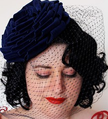 Navy blue velvet twisted flower hat with veil (Janine Basil Hats) Tags: rose veil navy twist velvet fabric ribbon vintagestyle pillbox veiledhat hatmillinery