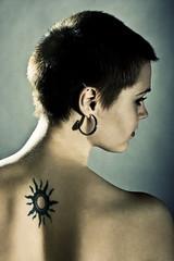 Tattoo (reegone) Tags: girl look tattoo hair studio naked back photoshoot short earrings shoulder