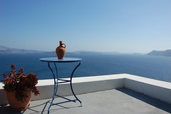afternoon over the caldera (Dewey Finn) Tags: ocean balcony aegean santorini greece caldera vase oia greekisland